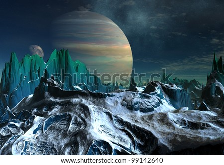 Alien planet with Mountains and two moons