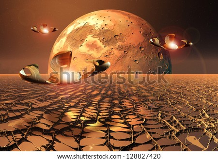 Alien Planet With Spaceships- Computer Artwork - stock photo