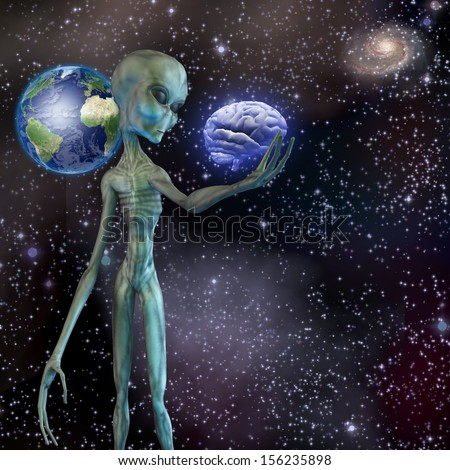 Alien ponders human brain - stock photo