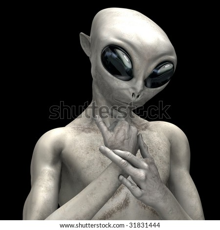 Alien Poses on black background - stock photo