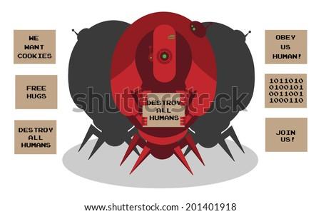 Alien robots invasion  - stock photo