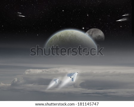 Alien Sci-fi fiction image of space craft launching on an alien planet with moons rising. (Artist illustration)