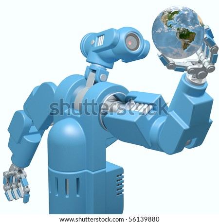 Alien science camera eye robot evaluates searches Earth in its hand isolated on white.