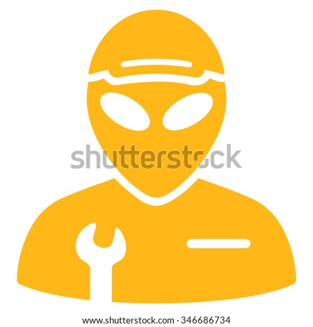 Alien Serviceman raster icon. Style is flat yellow symbol, rounded angles, white background.