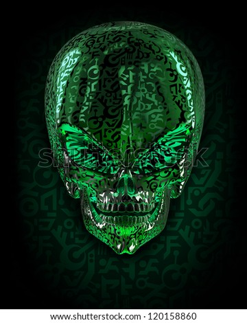 Alien skull covered with unknown writing - stock photo