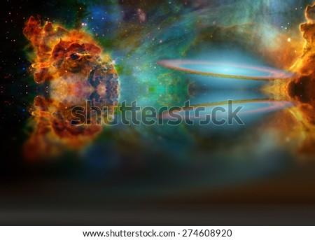 Alien Sky Reflected in Waters - stock photo