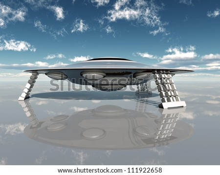 Alien Spacecraft Computer generated 3D illustration - stock photo