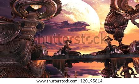 Alien Spaceship Approaching Landing Bay - stock photo