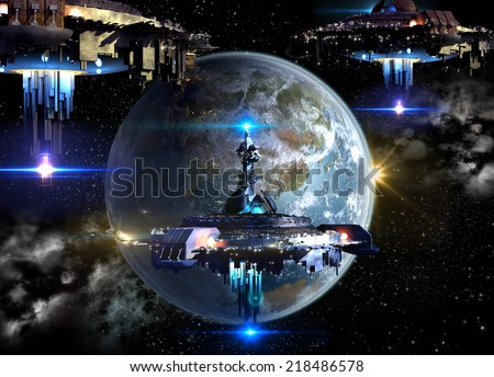 Alien spaceship fleet nearing Earth, for futuristic, fantasy or interstellar deep space travel or video-game war backgrounds. Earth map for this image furnished by NASA . - stock photo