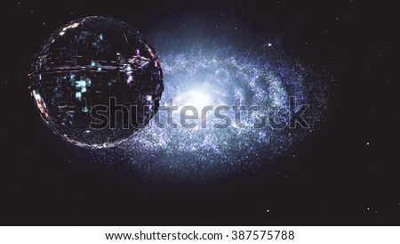 Alien Spaceship Flying in Amazing Planetary Nebula Galaxy 3D Illustration - stock photo