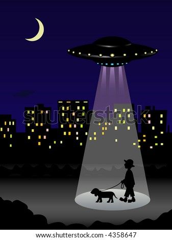 Alien spaceship kidnapping a man and his dog stock photo