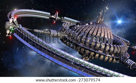 Alien spaceship, with central dome and gravitation wheel, in interstellar deep space travel - stock photo