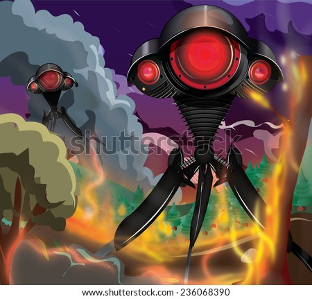 Alien tripods! Alien tripods, alien spacecraft attacking the planet earth at night, all around smoke and fire rise , in the foreground a tree is ablaze.  - stock photo