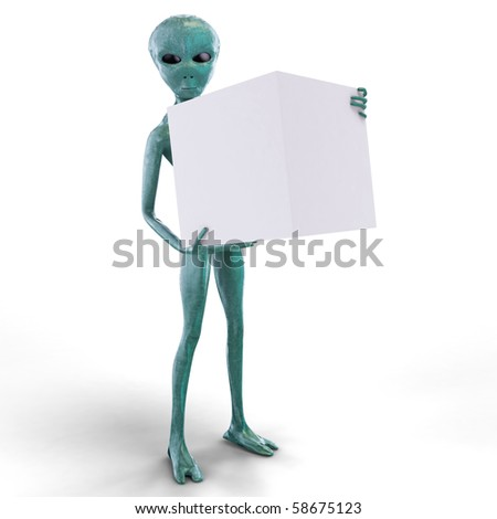 Alien with the  box - stock photo