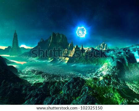 Alien World with Neutron Star - stock photo