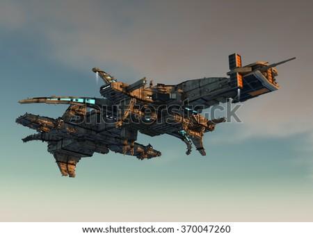 Alienship UFO concept - stock photo