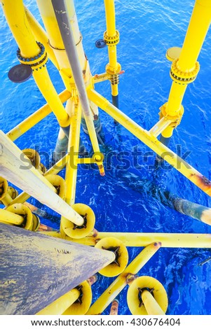 Aligned Oil and Gas Pipeline and Production slots on the sea background in Petroleum offshore wellhead remote platform, Energy and petroleum industry, Oil and gas or Petroleum is major of the world. - stock photo