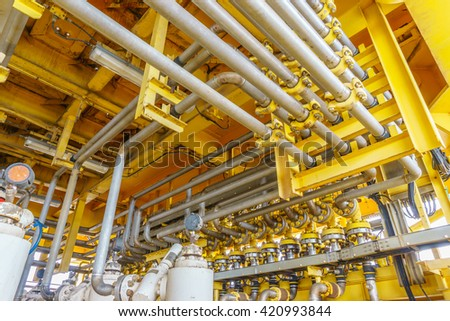Aligned X-mass tree, Control valve and Flow line for oil and gas production process, Pipeline construction on offshore wellhead remote platform, Energy and petroleum industry. - stock photo
