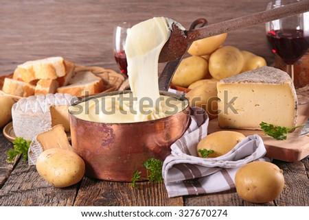 aligot,cheese and potato fondue - stock photo