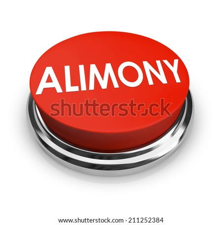 Alimony word on a red 3d button to get legal help from attorney in seeking spousal support or reduction in amount of payments - stock photo