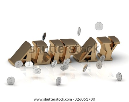 ALIPAY - inscription of gold letters on white background - stock photo