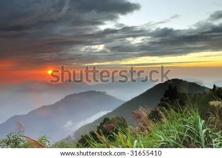 Alishan mountain sunset - stock photo