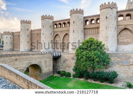 Aljaferia Palace in Zaragoza, Spain - stock photo