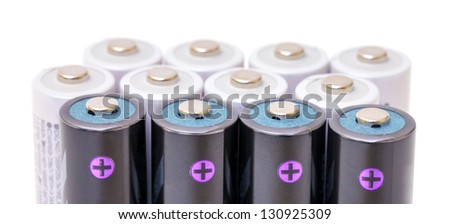 Alkaline Batteries closeup on white background