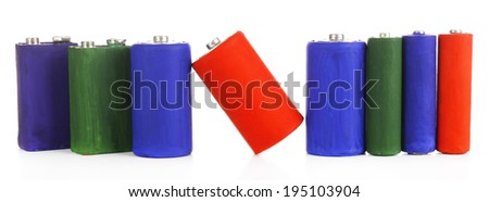 Alkaline batteries, isolated on white - stock photo