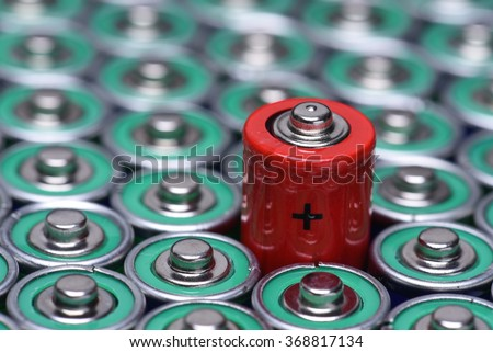Alkaline battery AAA size with selective focus on single battery  - stock photo