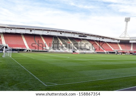 ALKMAAR, NETHERLANDS - OCT 03: Interior view of the empty AFAS Stadion on October 03, 2013 in Alkmaar, Netherlands. AFAS Stadion is the home base of the football team AZ Alkmaar.