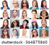 All about femininity. Collage of diverse multi-ethnic and mixed age woman expressing different emotions  - stock photo