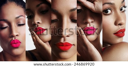 all about lips collage. cutted woman's portraits with a bright lips - stock photo