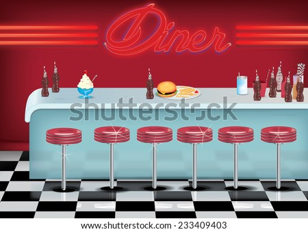 All American Vintage Style Diner Cartoon With Fried And Burger On A Counter