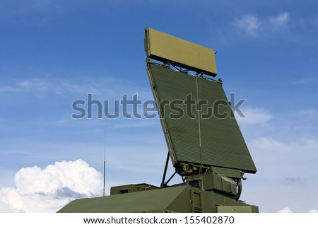 All-around antenna, made of phased array technology, on a rotating platform - stock photo