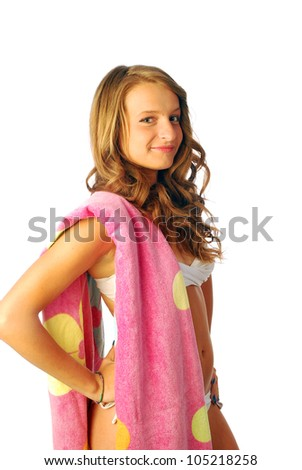 All at sea - A happy girl with the towel to the sea 002 - stock photo