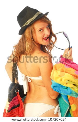 All at sea - A young woman is going to the beach 216 - stock photo