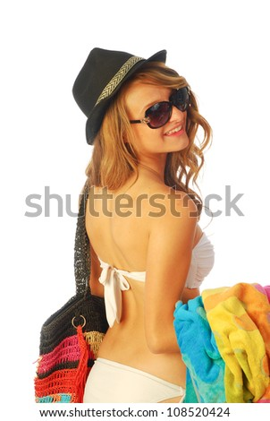 All at sea - A young woman is going to the beach 211 - stock photo