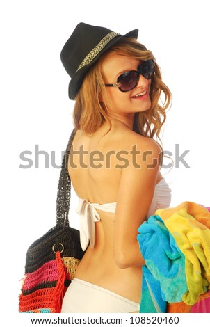 All at sea - A young woman is going to the beach 207 - stock photo