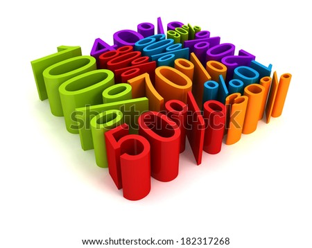 all colorful percent discount sale price numbers cube shape. 3d render concept illustration - stock photo