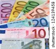 All current Euro banknotes forming a money background - stock photo