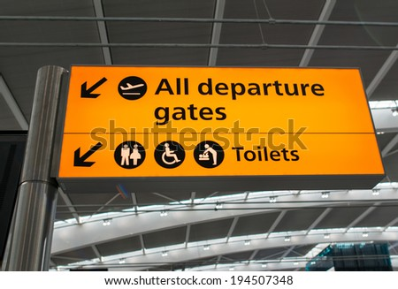 All departure gates and Toilets sign in the airport. - stock photo
