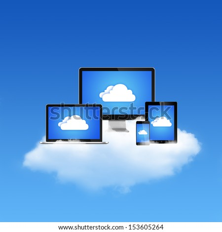 All Devices on Cloud Computing Network - stock photo