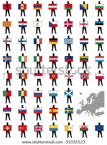 all european flags - illustration of a man holding a flag