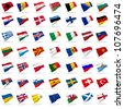 all european flags set icons with shadows on white - stock