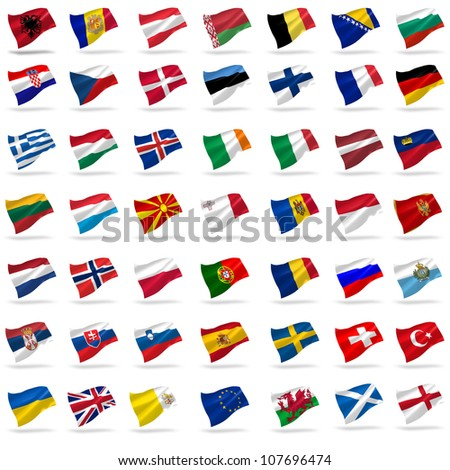 all european flags set icons with shadows on white - stock photo