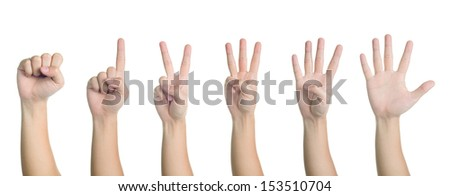 all hand sign posture number 0-5 in isolated