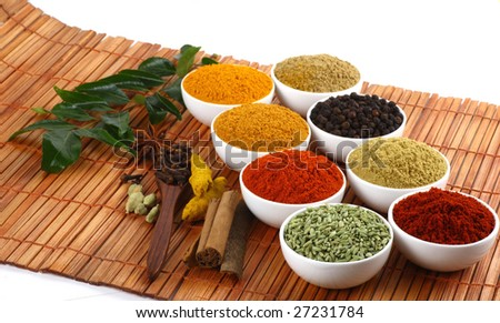 All kinds of dry spicy powders on mat background - stock photo