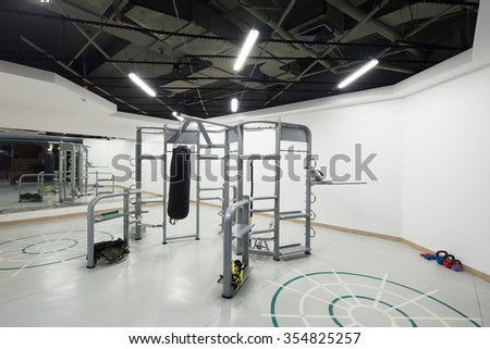 all kinds of gymnastic equipments in modern gym