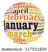 All months of the year info-text graphics and arrangement concept (word cloud) on white background - stock